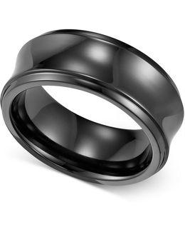 Men's Black Titanium Ring, Concave Wedding Band (8mm)