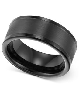 Men's Ring, 8mm Black Tungsten Wedding Band