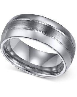 Men's Ring, 8mm Classic Tungsten 3-row Wedding Band