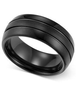 Men's Ring, 8mm Black Tungsten 3-row Wedding Band
