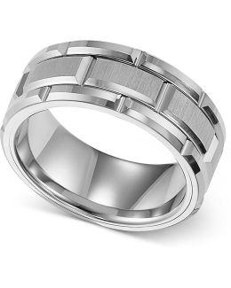 Men's Ring, 8mm White Tungsten Wedding Band
