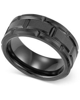 Men's Ring, Black Tungsten 8mm Wedding Band
