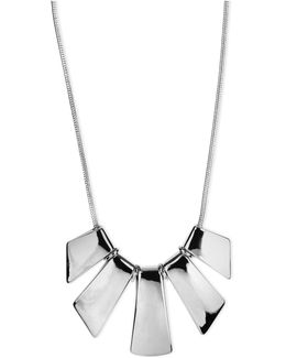 Necklace, Silver-tone Five-plate Frontal Necklace