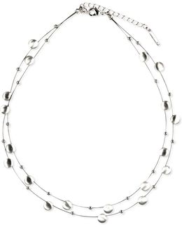 Necklace, Silver-tone Disc Two-row Necklace