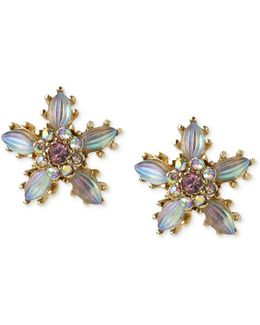 Antique Gold-tone Crystal Flower Stud Earrings