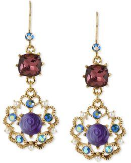 Antique Gold-tone Flower Medallion Crystal Drop Earrings