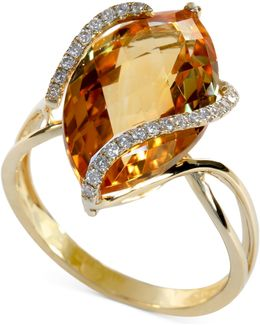 Marquise-cut Citrine (8-1/2 Ct. T.w.) And Diamond (1/8 Ct. T.w.) Wrap Ring In 14k Gold