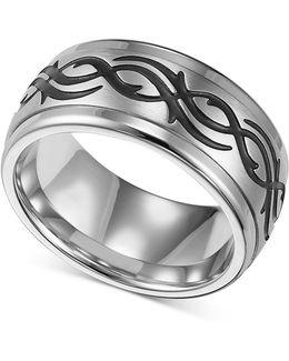 Men's Stainless Steel Ring, Black Design Wedding Band