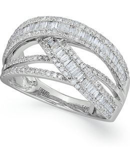Diamond Crossover Ring In 14k White Gold (1 Ct. T.w.)