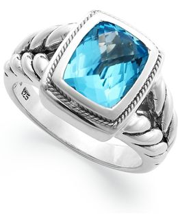 Blue Topaz Ring (3-3/8 Ct. T.w.) In 18k Gold And Sterling Silver