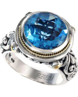 Blue Topaz Round Ring In 18k Gold And Sterling Silver (5-3/4 Ct. T.w.)