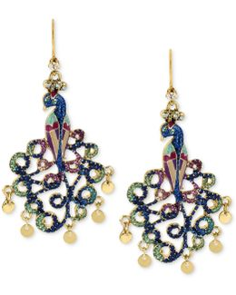 Gold-tone Peacock Drop Earrings