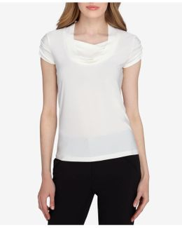 Short-sleeve Draped Ruched Top