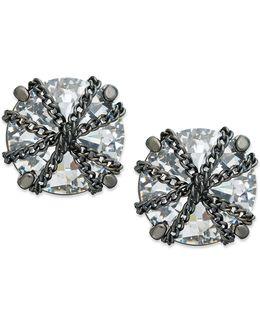 Earrings, Hematite-tone Crystal Chain-wrapped Stud Earrings
