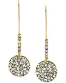 Earrings, Gold-tone Pave Crystal Disc Drop Earrings