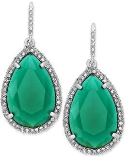 Earrings, Silver-tone Green Stone Pave Crystal Teardrop Earrings