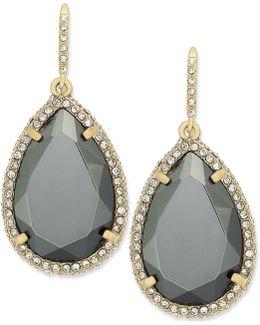 Earrings, Gold-tone Dark Gray Crystal Pave Teardrop Earrings