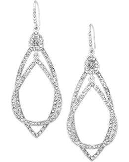 Earrings, Silver-tone Pave Crystal Orbital Drop Earrings
