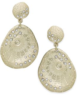 Earrings, Gold-tone Scattered Pave Double-drop Earrings