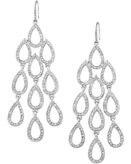 Earrings, Silver-tone Pave Crystal Large Chandelier Earrings