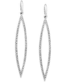 Earrings, Silver-tone Pave Crystal Marquise Drop Earrings