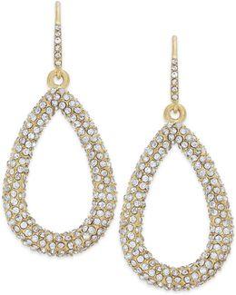 Earrings, Gold-tone Pave Crystal Teardrop Earrings