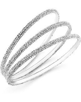 Bracelet Set, Silver-tone Pave Crystal Bangle Bracelets