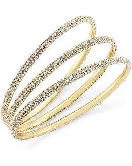 Bracelet Set, Gold-tone Pave Bangle Bracelets