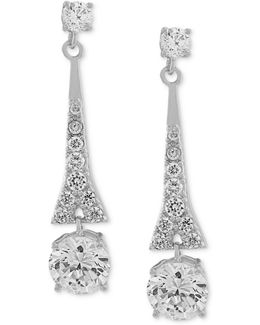 Earrings, Silver-tone Cubic Zirconia Linear Drop Earrings (9-3/4 Ct. T.w.)