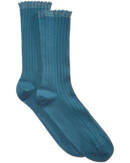 Scallopped Pointelle Socks