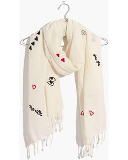 Embroidered Making Faces Scarf