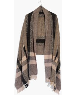 Placed Plaid Cape Scarf
