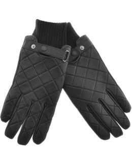 Quilted Leather Gloves Black