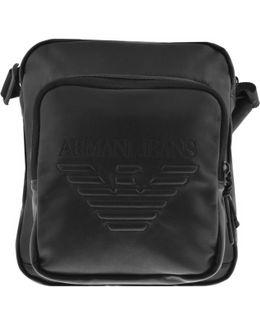 Jeans Faux Leather Shoulder Bag Black