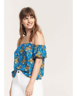 Printed Off-shoulder Blouse