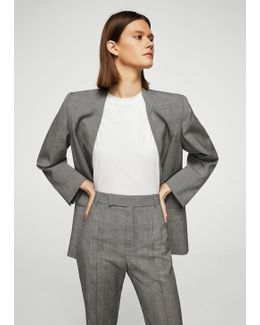 Check Wool-blend Trousers