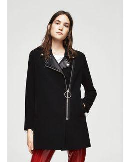 Contrast Lapels Coat