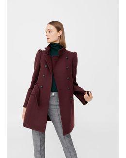 Puffed-shoulder Wool Coat