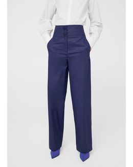 High-waist Cotton Trousers