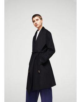 Wraparound Wool-blend Coat