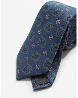 Flower Patterned Silk Tie