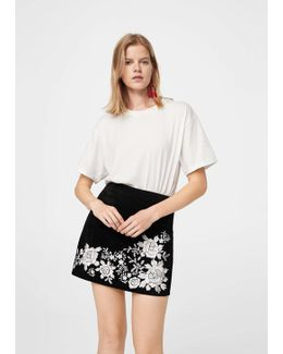 Embroidery Suede Skirt
