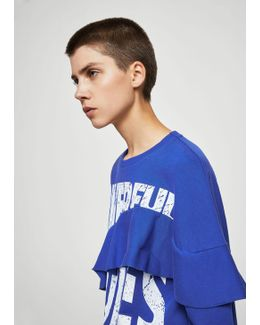 Ruffled Message Sweatshirt
