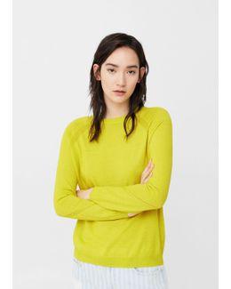Decorative Seams Cotton Sweater