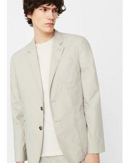 Slim-fit Cotton-blend Textured Blazer