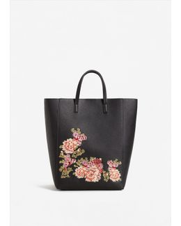 Floral Embroidery Shopper Bag
