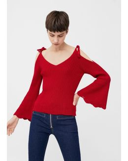 Flared Sleeve Ribbed Jumper