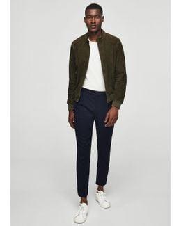 Zip-pocket Suede Jacket