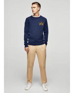 Print Knit Cotton Sweater