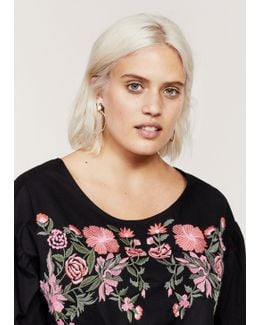 Bows Floral Embroidery Blouse
